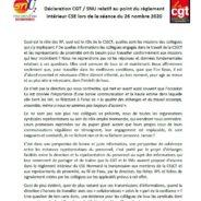 Déclaration commune SNU/CGT CSE du 26 Novembre 2020
